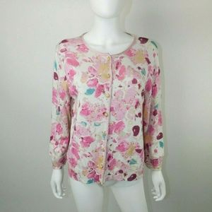 St. John Collection Abstract Floral Cardigan